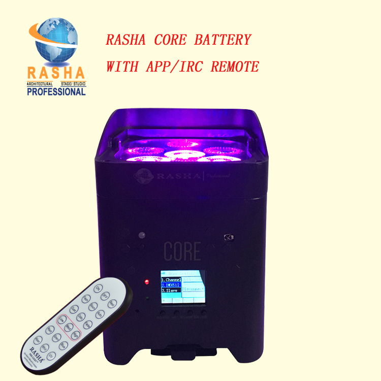 Rasha New Upgrade Fast Charger IRC APP Mobile Core Hex 4*18W 6in1 RGABW UV LED Battery Projector LED Par Light Stage 6/10CH chauvet intimidator barrel led 305 irc