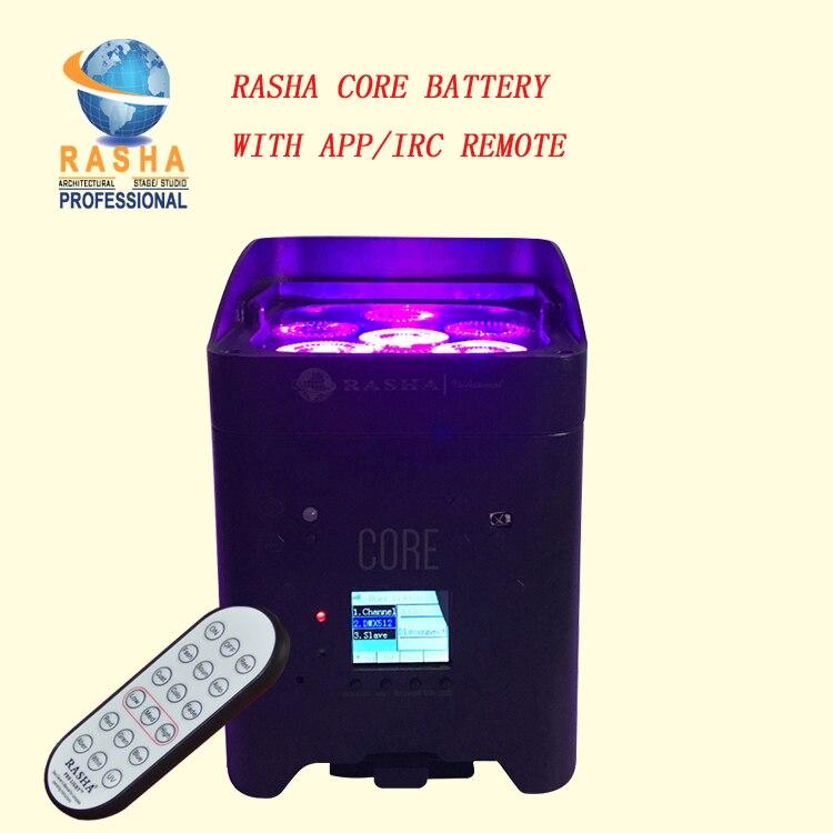 Rasha Nouvelle Mise À Jour Rapide Chargeur IRC APP Mobile Core Hex 4*18 W 6in1 RGABW UV LED Batterie Projecteur LED Par Lumières de la Scène 6/10CH
