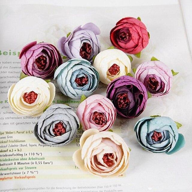 10 pçs artificial chá rosa bud pequeno peônia flor cabeça flores para decoração de casamento grinalda scrapbooking diy artesanato falso flores