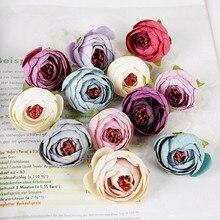 10Pcs 인공 차 로즈 버드 작은 모란 꽃 머리 플로레스 웨딩 장식 화환 Scrapbooking DIY 공예 가짜 꽃