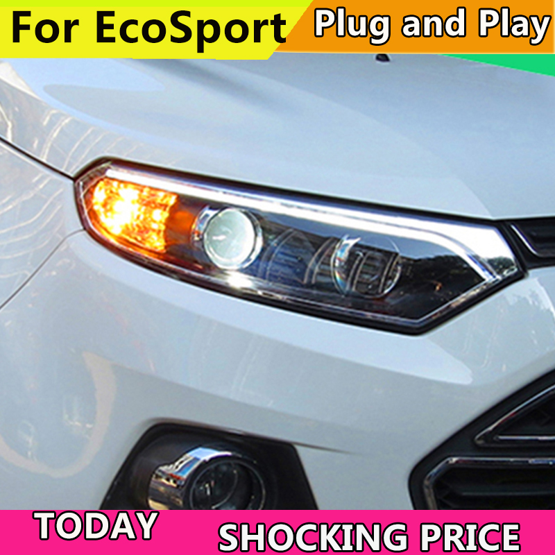 Car styling case for Ford EcoSport 2013 2015 Headlights LED Headlight DRL LED lens headlamps HID