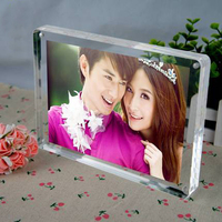 Pack 10units Christms Gifts Free Standing Desktop Clear Plexiglass Magnetic Picture Photo Block Frames PF014