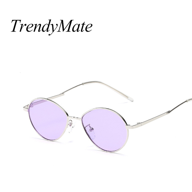 44f3e09a9e 2018 Vintage Retro Small Oval Sunglasses For Men Women Gold Metal Frame  Purple Clear Lens Round Eyeglasses 90s Sunglasses 1501T