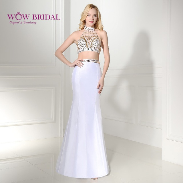 155984413 Wowbridal Sexy Two Piece Prom Dresses 2016 Backless Off the Shoulder  Crystal Strapless Halter Mermaid 2 Piece Prom Dress