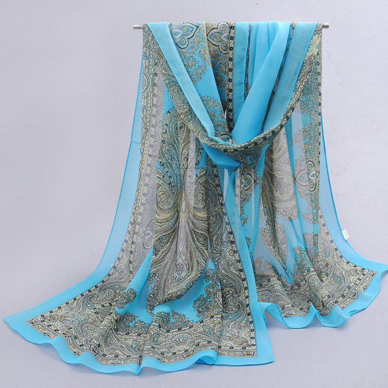 fashion pashmina women   scarf   2019 new design floral shawl cape silk chiffon polyester tippet muffler hot sale   Scarves