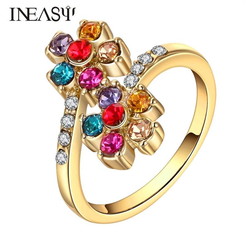 478914ec74b1 Split boda Anillos mujeres fiesta fina flor colorida moda de oro Anel  joyería Anillos romántico aneis partido mujeres dedo Anillos