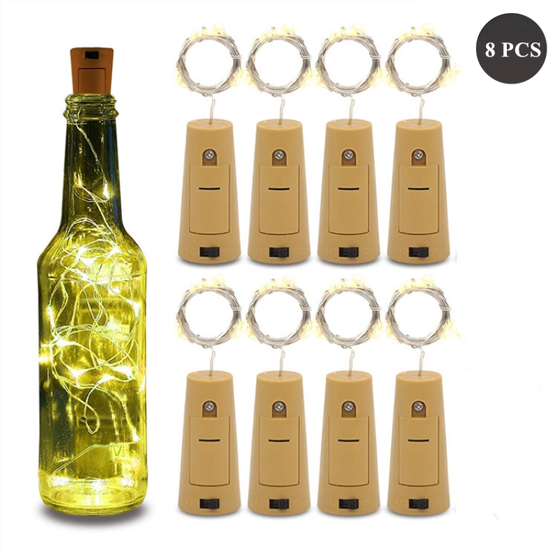 8pcs Wine Bottle Lights With Cork, 20 Led Silver Copper Wire Fairy String Lights For Diy, Party, Christmas, Wedding