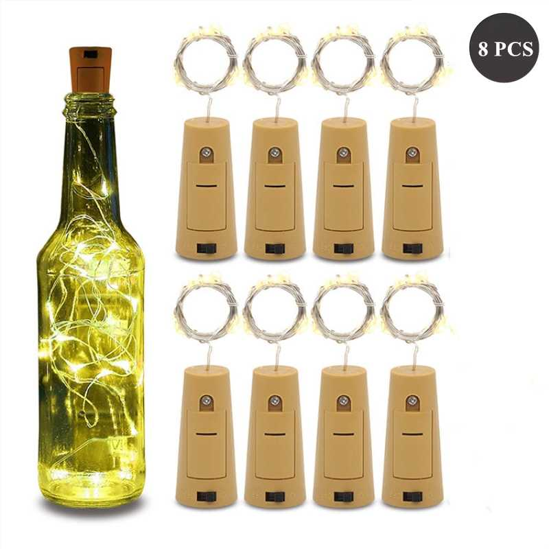 8PCS Wine Bottle Lights with Cork 20 LED Silver Copper Wire Fairy String Lights for DIY Party Christmas Wedding