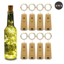 Guirlande lumineuse pour bouteille de vin avec liège, fil de cuivre argent LED, éclairage féerique, pour bricolage, fête, noël, mariage, 8 pièces