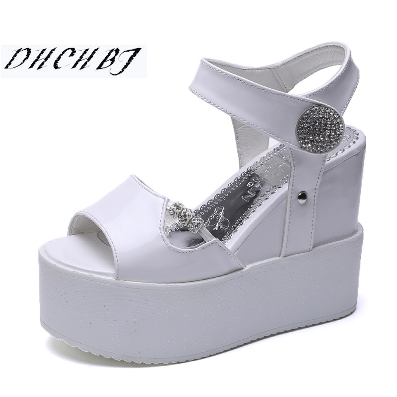 2019 Summer Fashion women <font><b>Sandals</b></font> Casual Mesh Breathable Shoes Woman Ladies Wedges <font><b>Sandals</b></font> <font><b>12</b></font> <font><b>CM</b></font> Lace Platform <font><b>Sandals</b></font> image