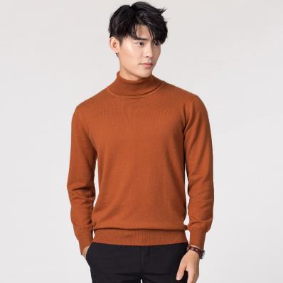 Кашемировая водолазка мужская, мужской свитер, одежда для осени и зимы, свитера цвета Омбре, пуловер для мужчин с высоким воротником - Цвет: Шампанское