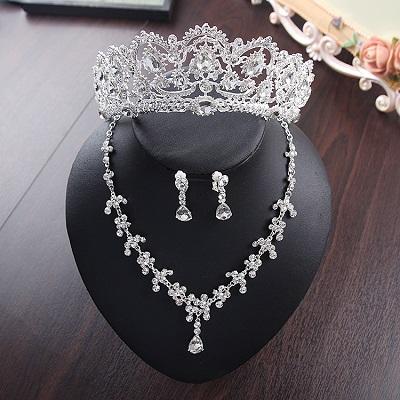 Bride Diaries New Design Crystal Pearl Bride 3pcs Set Necklace Earrings Tiara Bridal Wedding Jewelry Set Accessories (2)