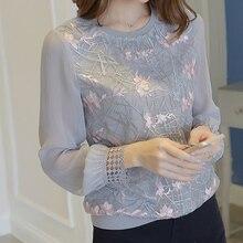 Кружевная блузка, женские топы, женские блузки и рубашки, женская шифоновая блуза с длинным рукавом, рубашка на 4 сезона, высокое качество