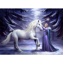 Beauty and unicorn diamond Embroidery diy painting mosaic diamant 3d cross stitch pictures H599