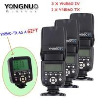 YONGNUO 3/4 Pcs Wireless Speedlite Flash Yongnuo YN560 IV +YN560TX Flash Controller For Canon Nikon with free 1 X YN560 TX