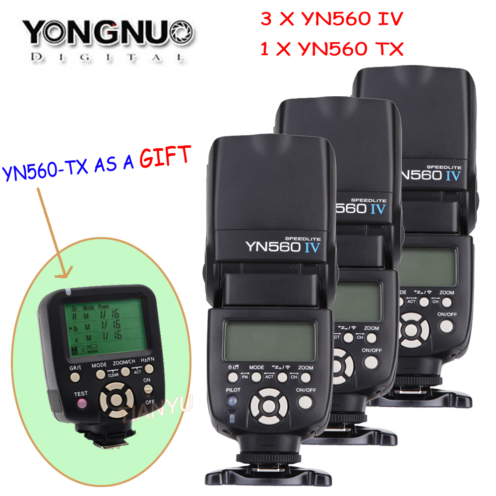 YONGNUO 3/4 Pcs Wireless Speedlite Flash Yongnuo YN560 IV +YN560TX Flash Controller For Canon Nikon with free 1 X YN560 TX недорго, оригинальная цена