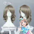 Love Live Sunshine Watanabe You Cosplay Wig Linen Synthetic Hair 40cm Curly Medium  Hair Anime Cosplay Wigs 391B