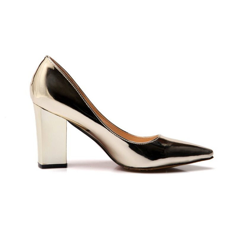 Big Size 43 Women Pumps Patent Leather Stripper High Heels Slip On Gold  Lady Stiletto Sexy Silver Runway Wedding Shoes For Woman-in Women s Pumps  from Shoes ... fc0ae48e04e3
