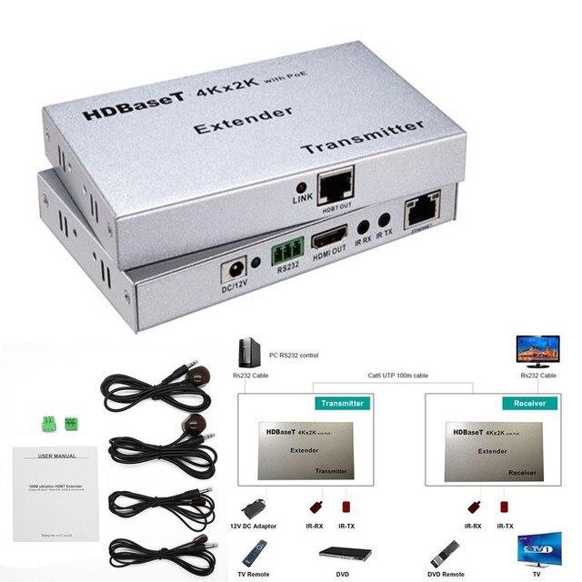 3D 4 К x 2 К 100 М v1.4 HDMI Extender 100 М 1080 P HDBT Поддержка HD BaseT, 4 К x 2 К, POE, RS232, Bi-directional ИК управления