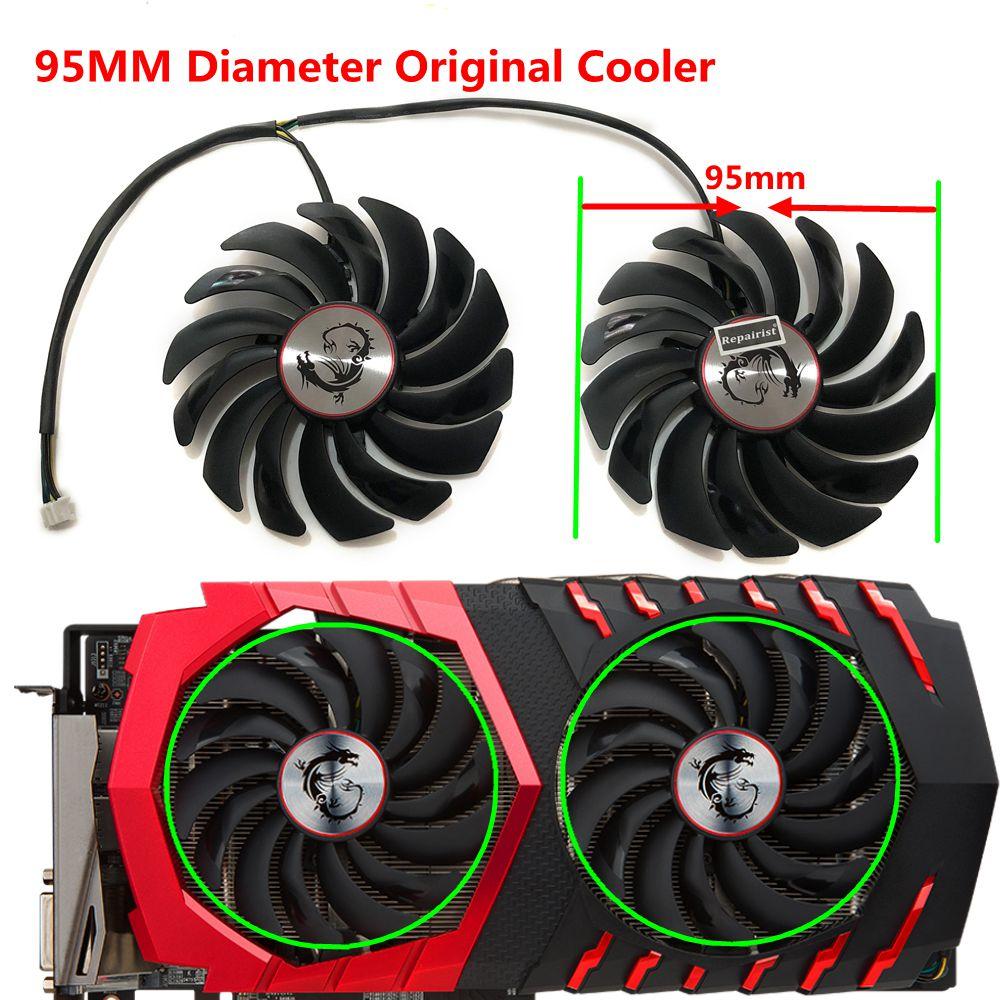 US $14 0 30% OFF|2pcs/set GTX 1060 1080 1070 VGA GPU Cooler Cooling Fan For  MSI GTX1080/GTX1070/GTX1060 GAMING GPU Graphics Card Cooling-in Fans &