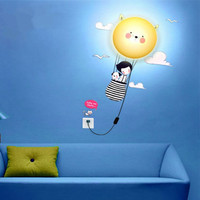 DIY girl wallpaper wall lights home decorative lighting warm and funny children's room puzzle lamp novelty gadget