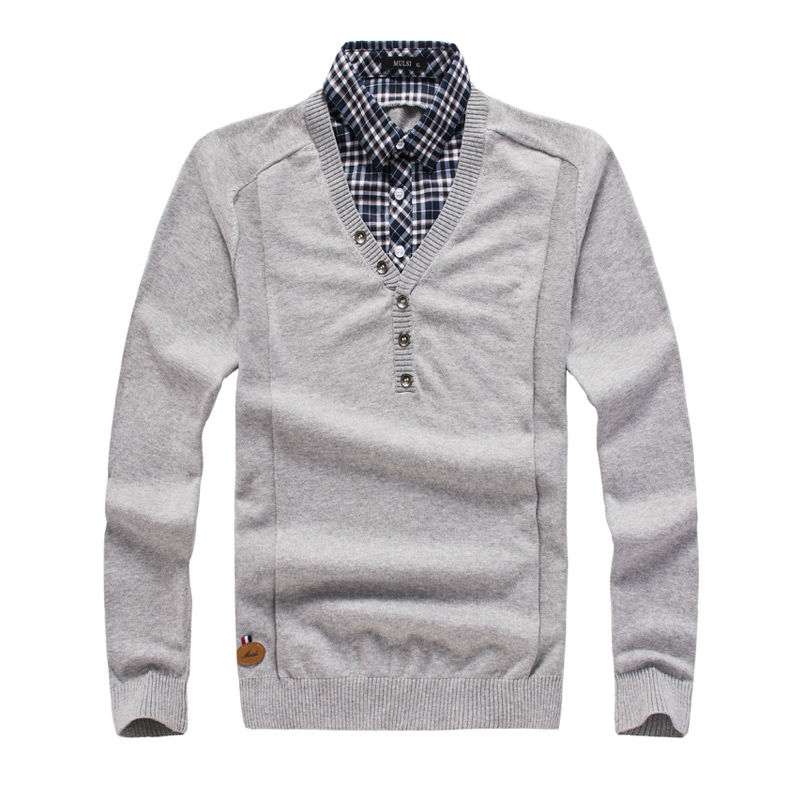 Solid color plaid shirt turn down collar pullover men sweater ...