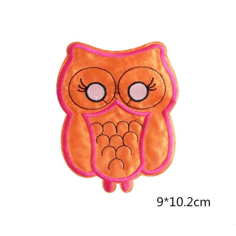 DoreenBeads búho Animal parche fieltro tela coser hierro en naranja ropa para niños suéter insignia escudo bolsa sombrero DIY 9*10,2 cm 1 pieza