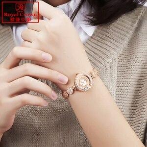 Image 5 - Lüks takı bayan kadın izle güzel moda saat kristal bilezik taklidi altın kaplama kız hediye kraliyet taç kutusu