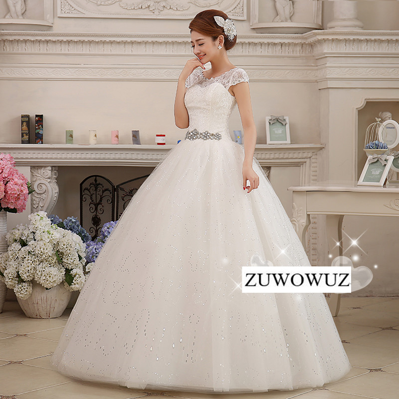 Bridal gown stock 2017 new plus size wedding dress women for Plus size bling wedding dresses