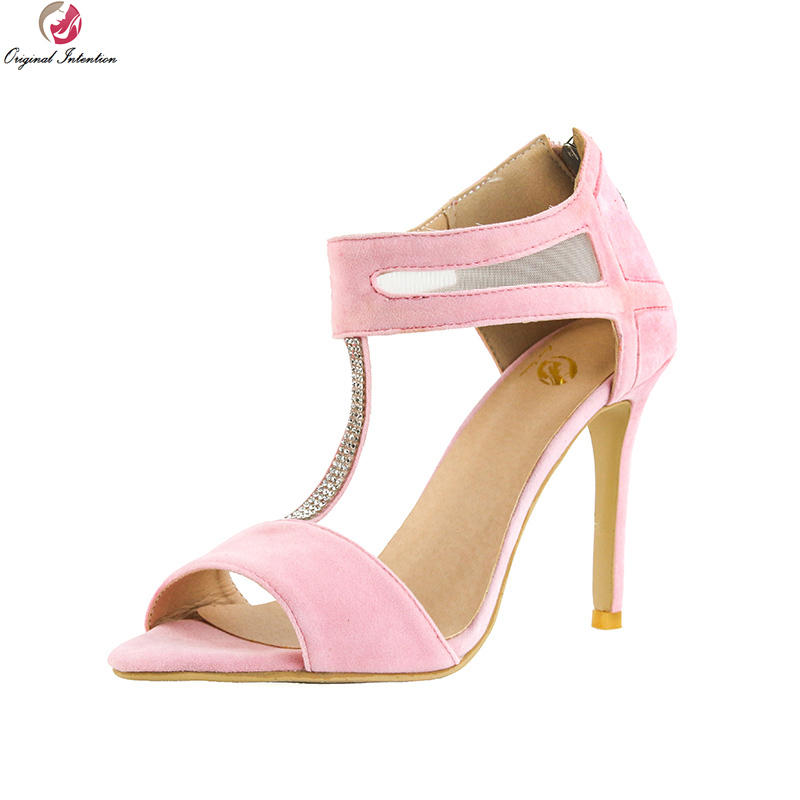 original intention super sexy women sandals fashion open toe thin high heels fashion black red shoes woman plus us size 4 15 Original Intention Super Sweet Women Sandals Fashion Open Toe Thin High Heels Elegant Pink Shoes Woman Plus US Size 4-15