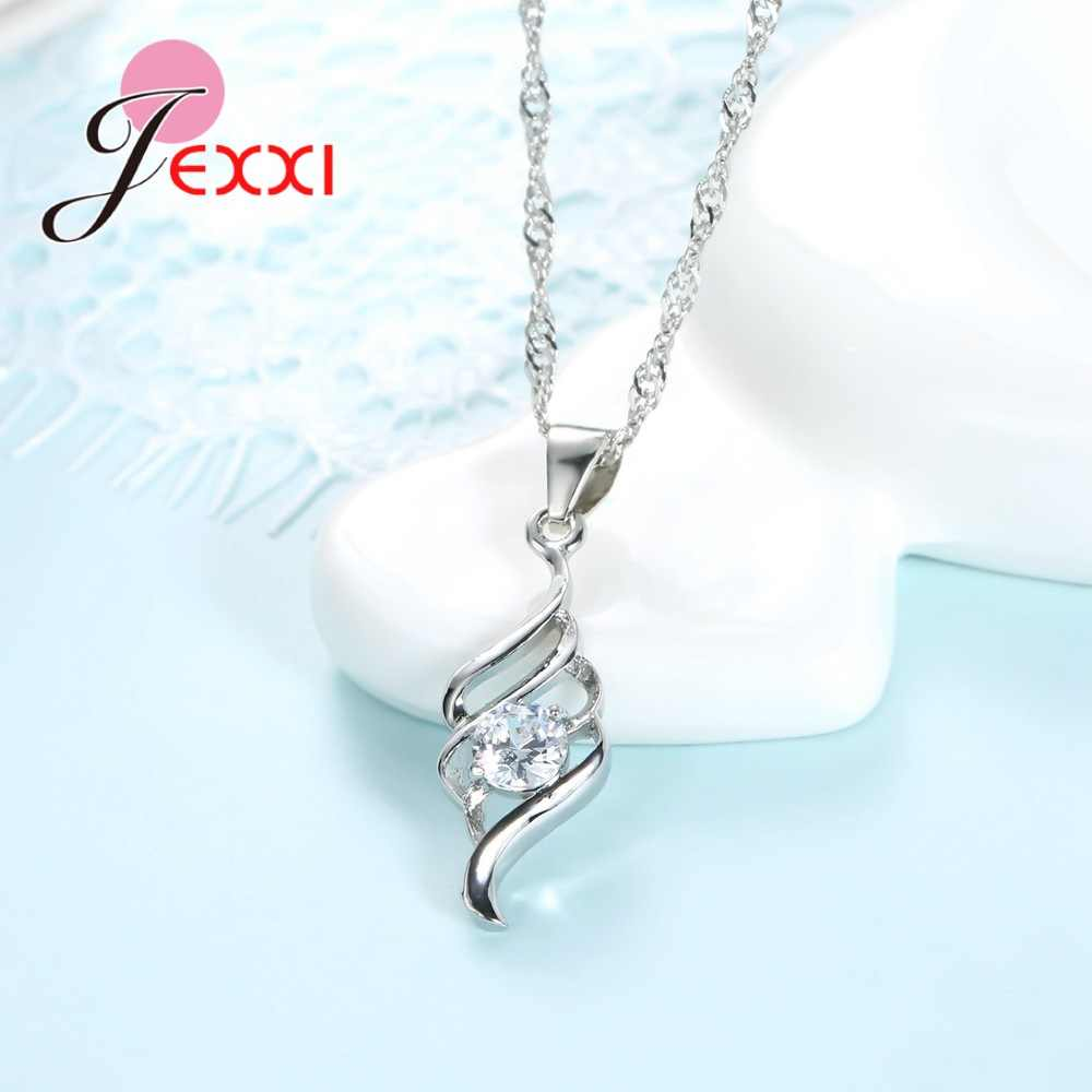 Giemi 2018 New Arrival Crystal Spiral Jewelry Female Chain Pendants Necklace+Earrings Jewelry Set Women S90 Silver Color Sets