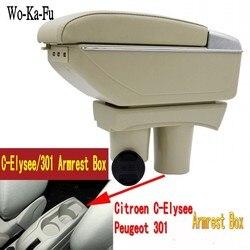 Pour 301 c-elysée elysée accoudoir boîte centrale magasin contenu boîte de rangement avec support de verre cendrier interface USB
