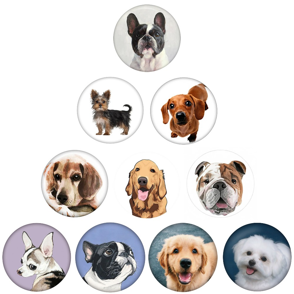 5 Teile/los Mode Nette Bulldog Labrador Hund Form Runde 18 Mm Snap Tasten Fit Snap Armband Snap Schmuck Großhandel