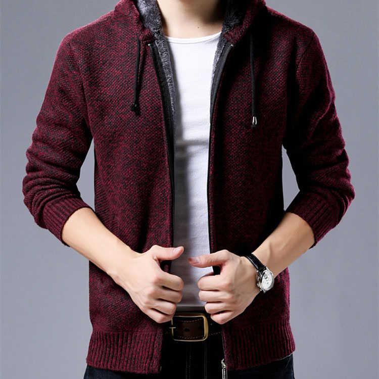 2019 font b Men s b font Casual Large Size Hooded Knit font b Jacket b