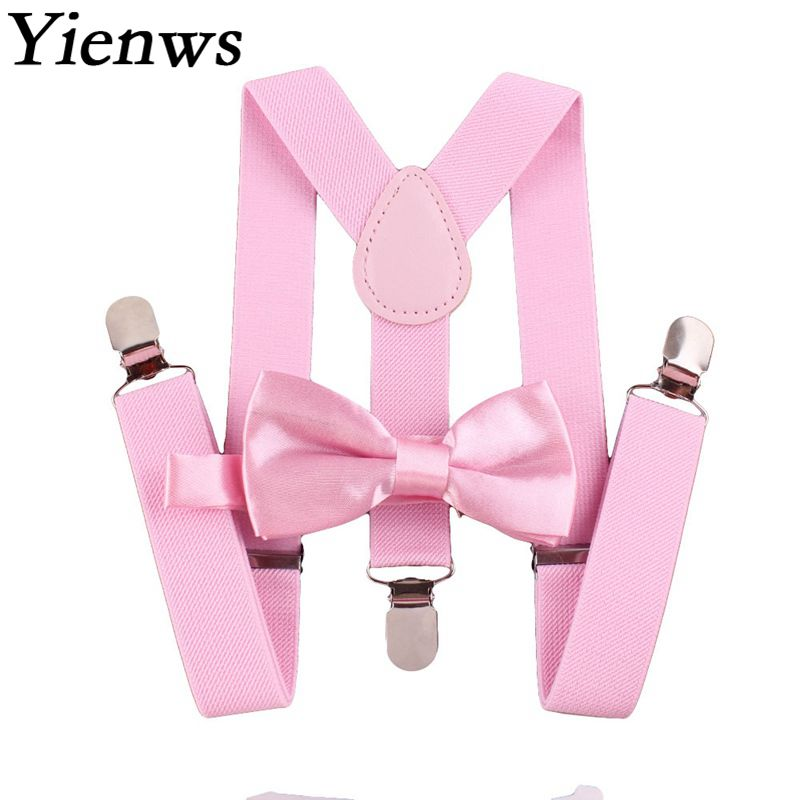 Yienws Plain Color Bow Tie And Suspenders For Women 3 Clip Button Pants Bow Tie Braces For Trousers Red Pink Burgundy Red