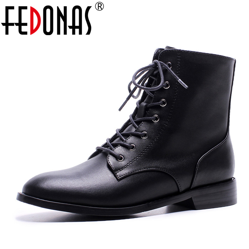 FEDONAS Brand Ankle Boots Women Genuine Leather Thick Heels Motorcycle Boots Warm Autumn Winter Martin Shoes Woman Lace Up Boots