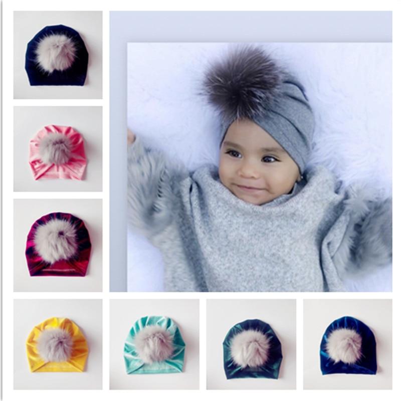 2018 New Arrival Baby Turban Hats Spring Autumn Children Velvet Caps Kid Beanie Pompom Fur Hat Warm Girl Caps