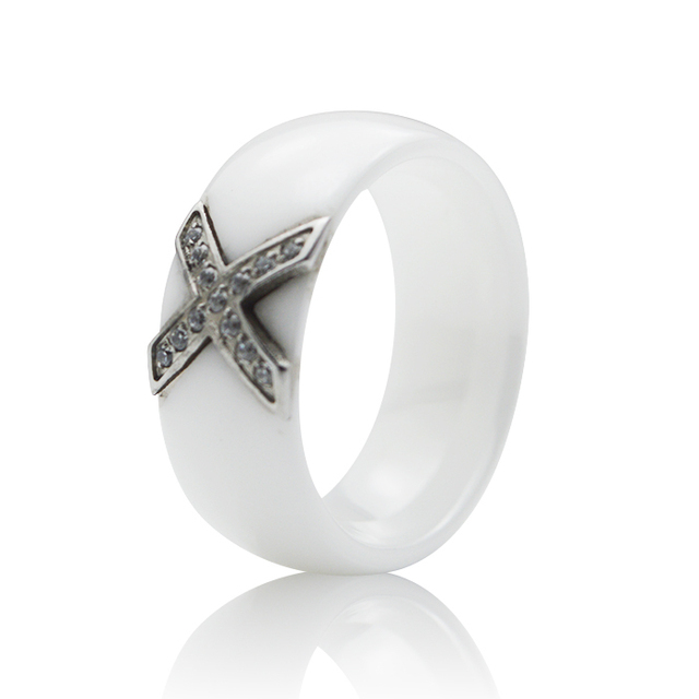 000cefa7d59 8MM Brand White Ceramic Rings Large Ladies Fashion Steel Rings Wedding Band  with Cross Cubic Zircon