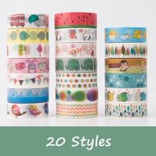 20 pieces lot DIY Scrapbooking 15mm Cute Cartoon Washi Tape Kawaii Paper Tape Lot
