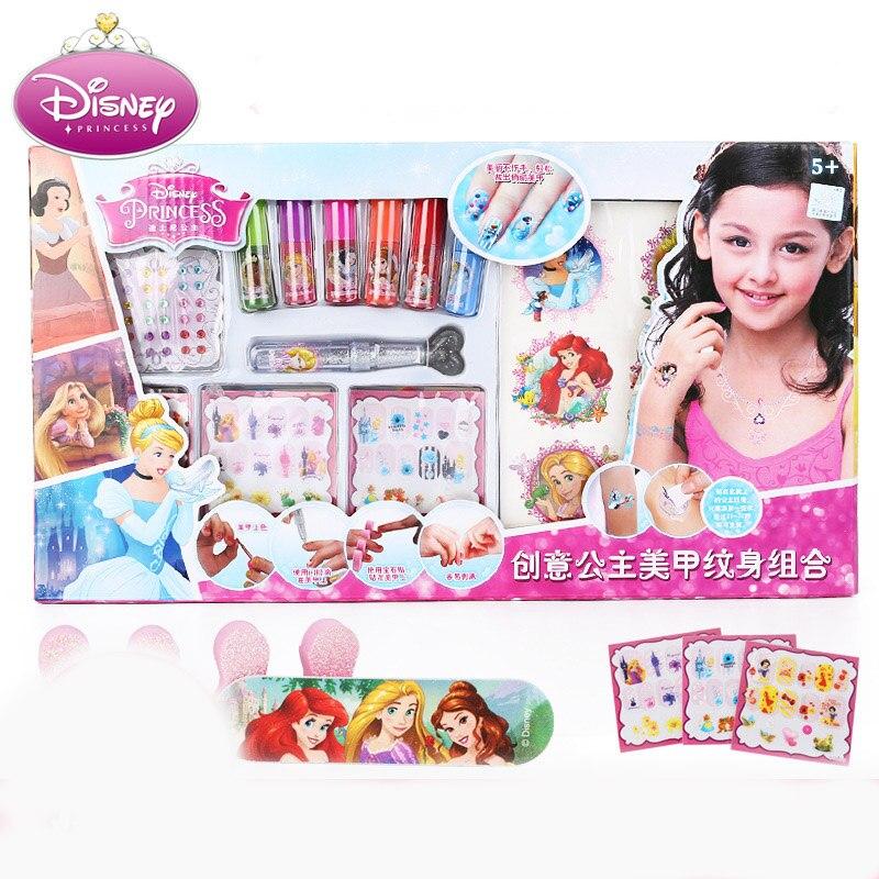 Disney pretend play Children's Manicure Set Combination Nail Polish Nail Sticker Tattoo Girl Princess Birthday Gift heart print nail sticker