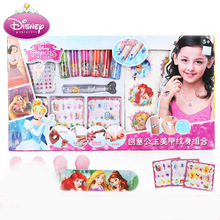 Disney pretend play  Childrens Manicure Set Combination Nail Polish Sticker Tattoo Girl Princess Birthday Gift