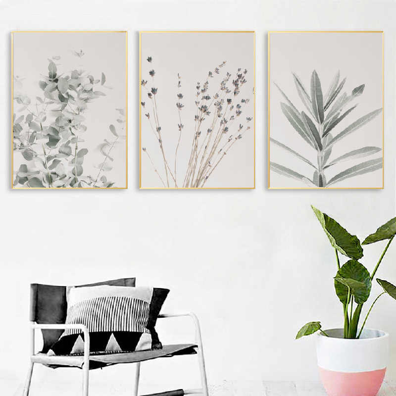 Lavender Botanical Wall Art Canvas Posters Prints Eucalyptus Nordic Painting Watercolor Wall Picture for Farmhouse Home Decor