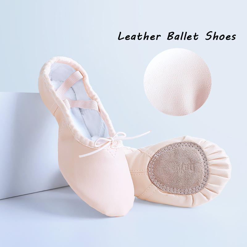 Girls Women Geniune Leather Ballet Dance Shoes Slippers Cotton Canvas