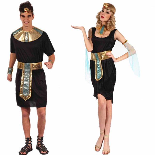 187a7a0a68f77 Egyptian Pharaoh King Men Costumes Halloween Party Couple Adults Clothing  Cleopatra Fancy Women Dress Exotic Masquerade