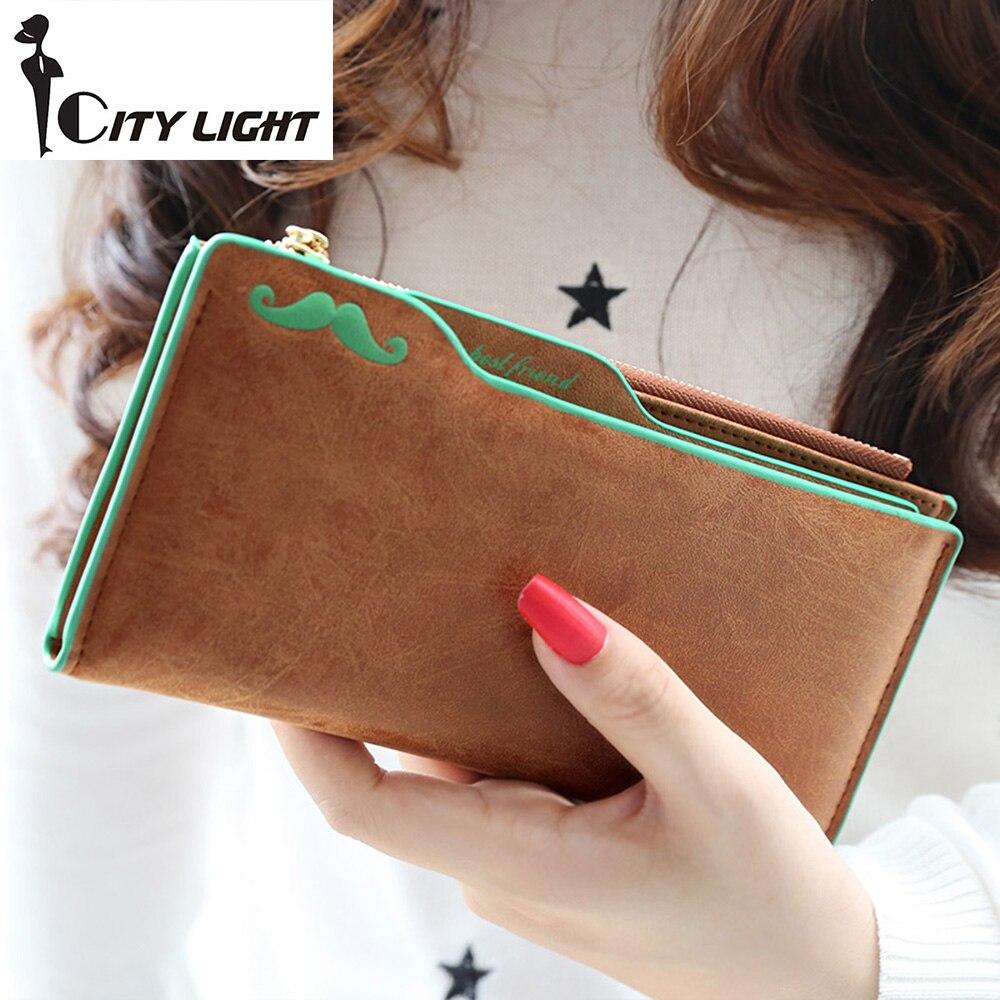 2016 New fashion Scrubs plug-in Nubuck mustache women multifunctional long design  wallet ladys money clip purse freeshipping