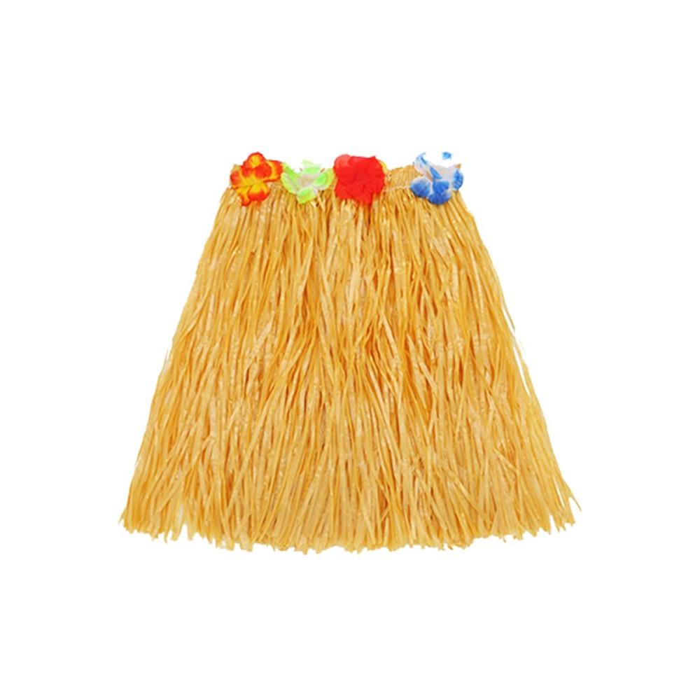 Color de paja fibras de plástico mujeres faldas de hierba señoras vestido de decoración de baile Hawaiano disfraces suministros de fiesta