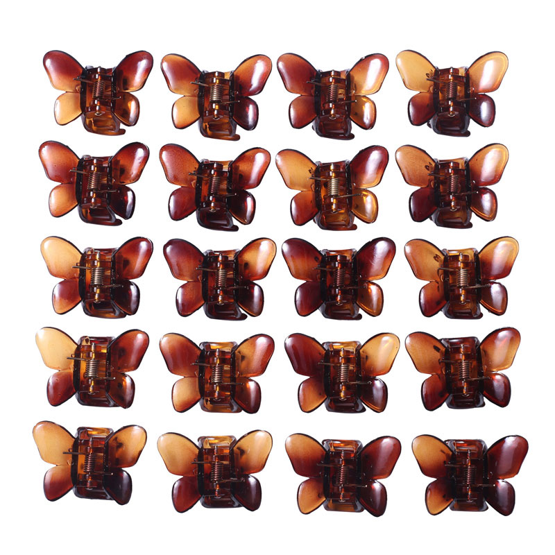 12pcs Butterfly Hair Clips Hair Clamp Crab Claw Jaw Small Children Hairpins Women Girls Hair Accessories Brown Plastic Barrettes