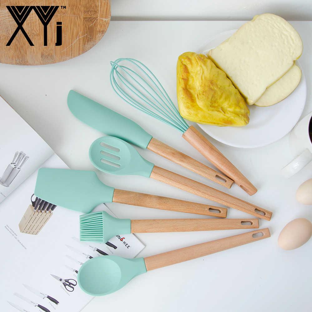 XYj Verde Del Silicone di Cottura Utensili Da Cucina di Cottura Set Cucchiaio Colino Spatola Pennello Olio di Cottura Raschietto Frullino per le uova Utensili Da Cucina