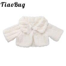 新到着かわいいキッズガールズ子供フェイクファーボレロすくめジャケットマントケープウェディングのための花のウェディングドレス