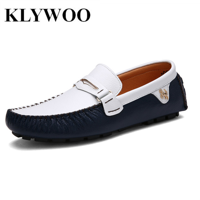 KLYWOO Fashion Men Loafers Luxury Mens Leather Shoes Casual Breathable Driving Shoes Men Boat Shoes Moccasins Chaussure Homme
